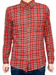 Bearsville - Plaid Checkered Flannel Shirt (Red)